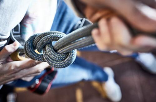 closeup of climbing rope and knot